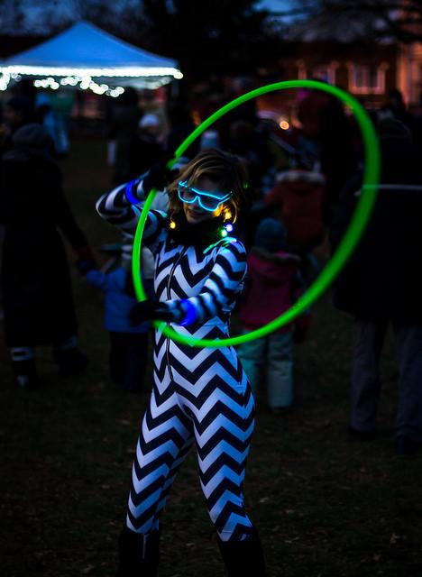Zero Gravity Circus' LED Hula Hooper lit up the night.
