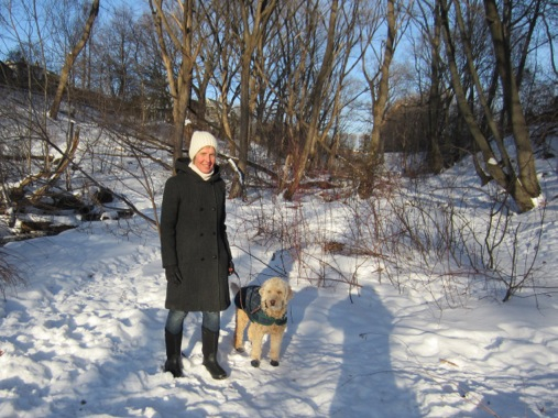Audrey in the ravine near Merrill dog park, with her 11-year-old Golden Doodle, Rory.