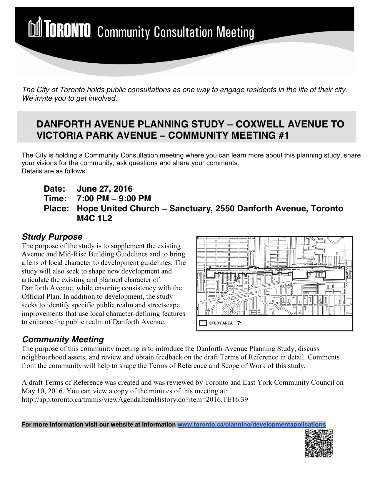 Danforth Avenue Planning Study - CCM #1 - Meeting Notice