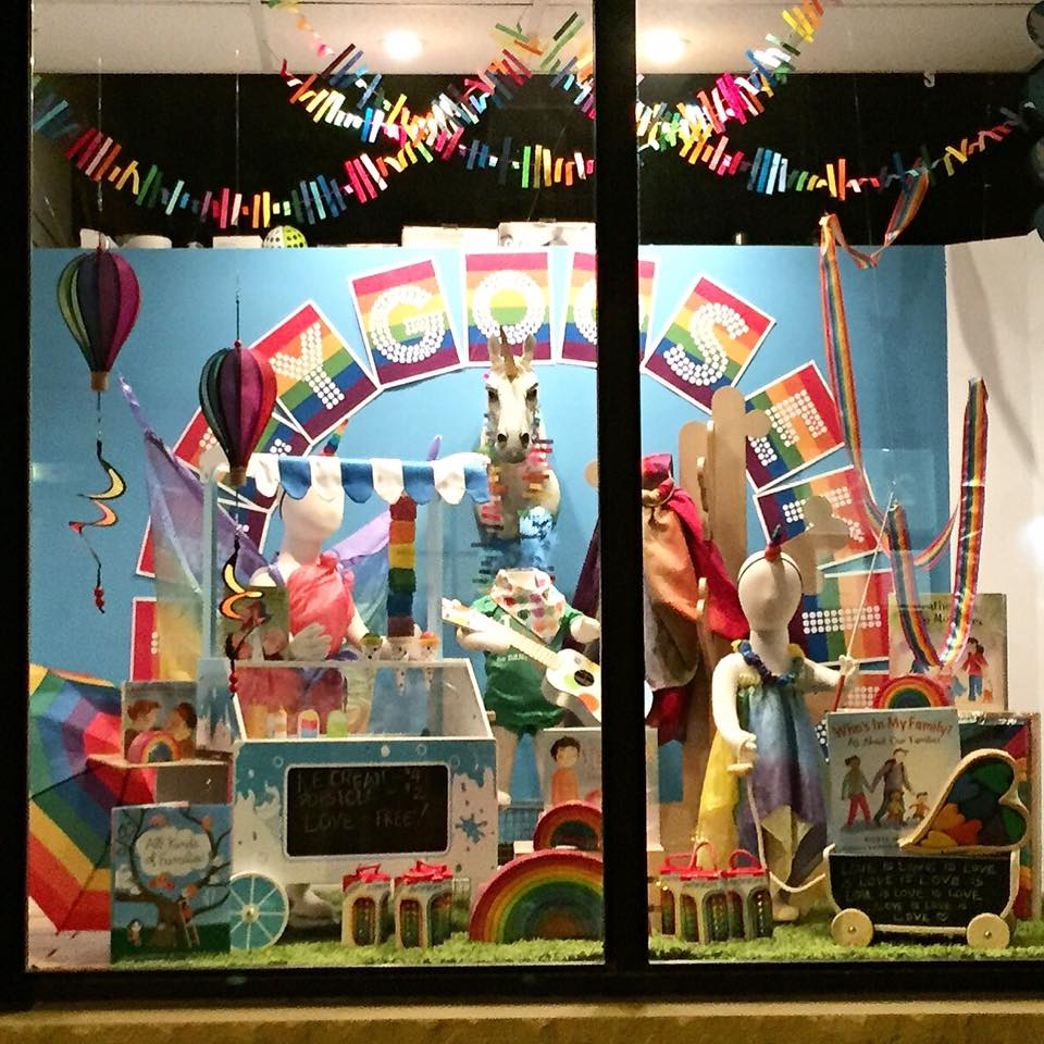 Silly Goose Kids' annual pride window! 2054 Danforth Ave