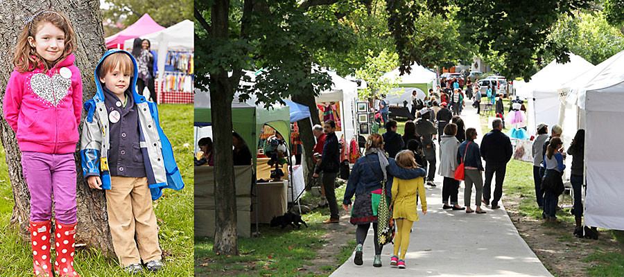 Children and visitors at the Danforth East Arts Fair