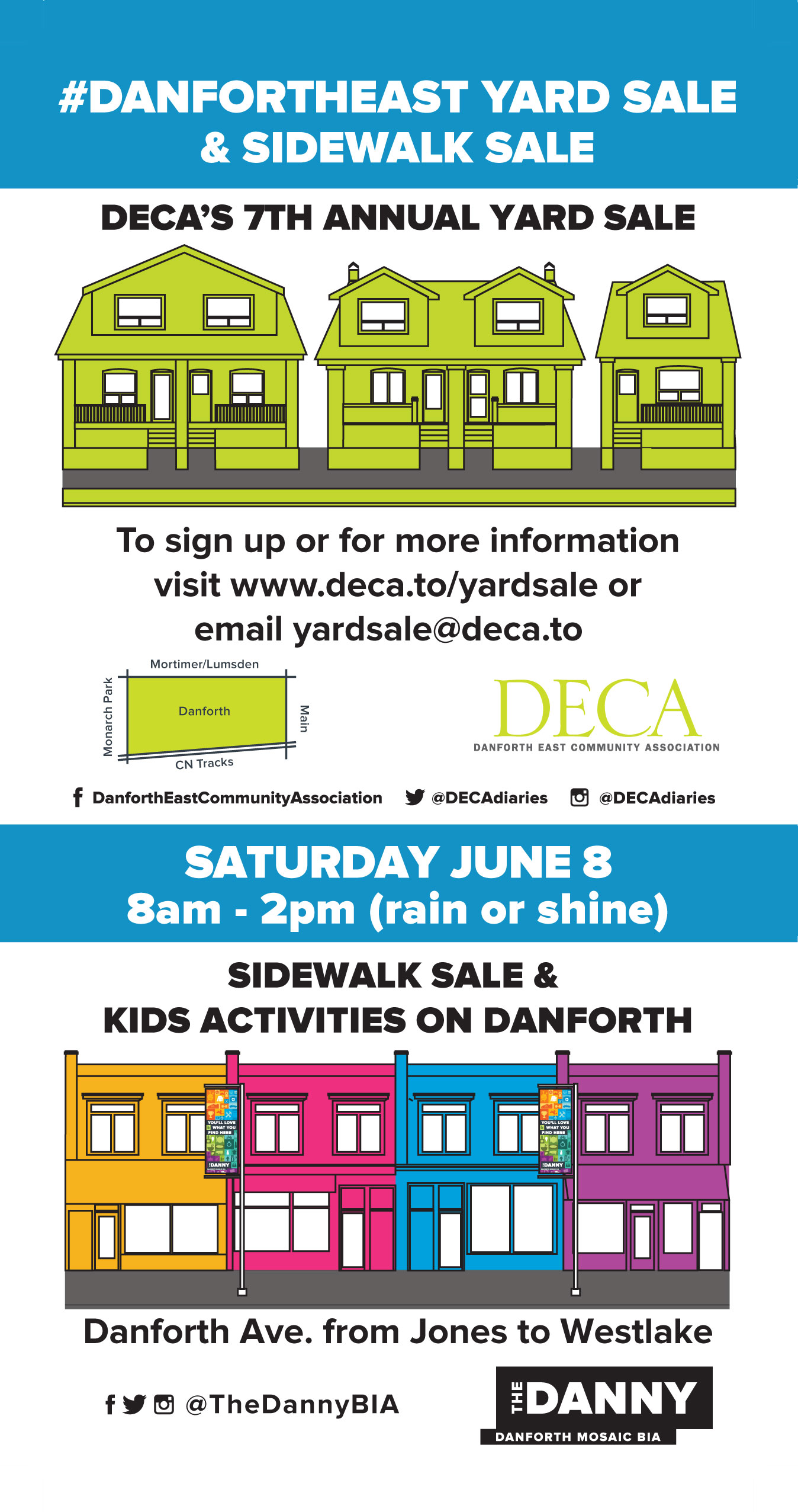 Post card advertising DECA's yard sale on Sat. Jusne 8 8am-2pm